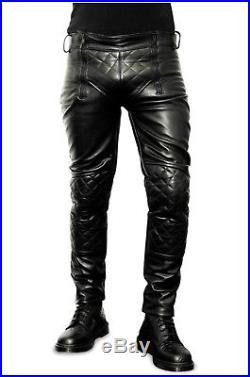 Men/'s Real Cowhide Leather Pants Carpenter Pants Carpenter Leather Pants