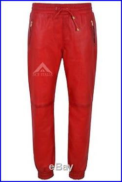 Men/'s Real Leather Trousers Red Napa Sweat Track Pant Zip Jogging Bottom 3040