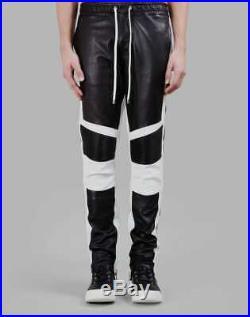 Men's Real Sheep Leather Pants Punk Kink Jeans Trousers Pants Bikers