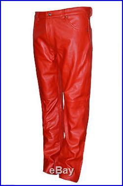 Men's Red 501 Genuine Hide Italian Real Leather Motorcycle Biker Jeans Trousers