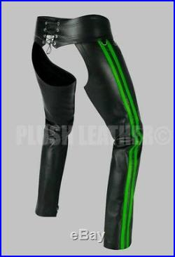 Men's Very Hot 100% Black Genuine Leather Chaps With Double Strip Bluf Gay