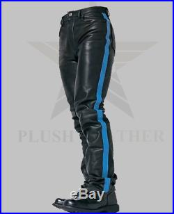 Men's Very Hot Levi's 501 Style 100% Black Genuine Leather Biker Pant With Strip