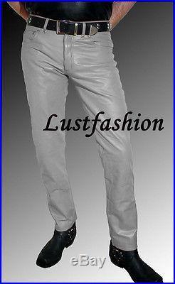 mens leather jeans gray leather pants grey new trousers  Lederjeans hellgrau