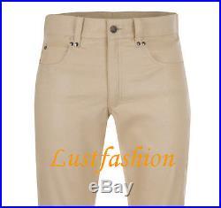 Men`s leather pants new beige leather trousers NEW jeans Lederjeans beige