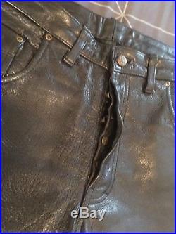 Mens 38 Black Echtes Leder Leather Pants. Biker/Rocker Button Fly