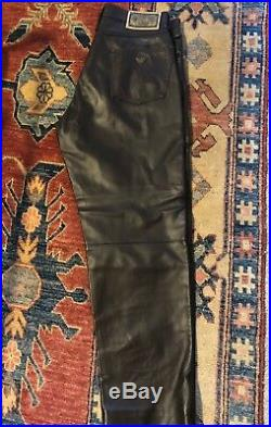 Mens Armani Jeans Brown Leather Jean-Style Pants 36/32