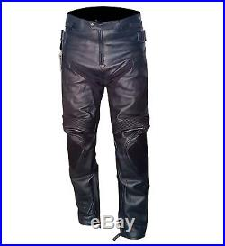 Mens Biker Trousers CE Armoured Motorbike Black Stylish Leather Motorcycle Pants