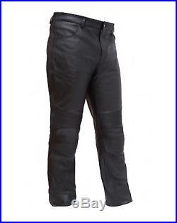 Mens Black Leather Updated 4 Pocket Jean Style Pants Pre-Curve Knee Detail 30-46