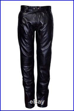 Mens Black Stylish Fashion Soft Leather Designer Slim Fit Jeans Trousers Pants