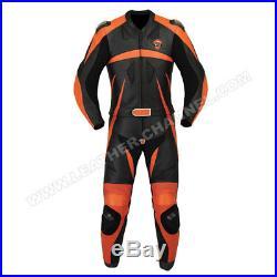 Mens Black orange Motorcycle Biker Racing Leather Suit Leather Jacket Pants