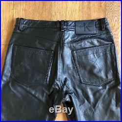 Mens Calvin Klein Leather Biker Pants