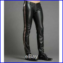 Mens Genuine Leather Black Shinny Jeans Pants Leather Men Trousers