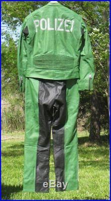 Mens German Motorcycle Police -leather jacket-suit -sz 40 med- 34X32 -pants