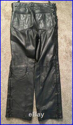 Mens Heavy Leather Motorcycle Pants With Lacing Sides, Size 32.5
