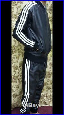 Mens Leather Sout, black genuine Leather white strips bomber jacket and Pants