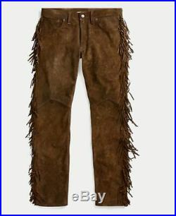 Mens Native American Brown Cow suede leather Jeans style pants with fringes