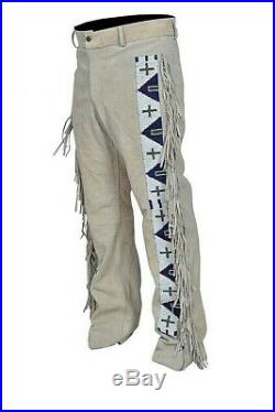 Mens Native American Buckskin Cow Suede Leather Pants Fringes Long Beads TP04
