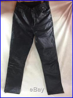 Mens North Bound Black Leather Pants Jeans Size 34/33 Fit like 32/33