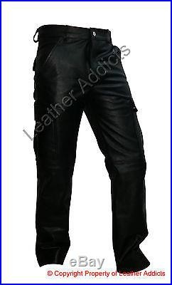 Mens Real Black Leather 6 Pockets Cargo Pants Jeans Fully Lined (cargo2-blk)