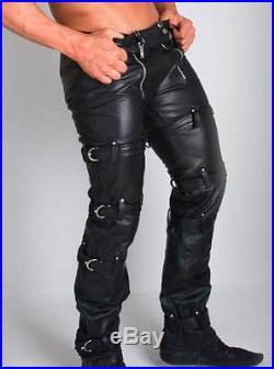 Mens Real Leather Bondage Carpenter Pants/chastity Carpenter Pants