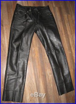 Mens Schott Jean Cut Steerhide Black Leather Biker Jeans SZ 36 Style #600