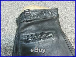 Mens Vintage 60's 70's Beck Black Leather Motorcycle Biker Racing Pants Size 36