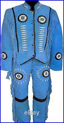Mens/Women Native american Blue Suede Leather Suit Jacket Pants bone Bead Fringe