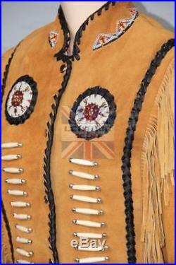 Mens/Women Western Brown Suede Leather Suit Jacket Pants Bone Bead Fringe dress
