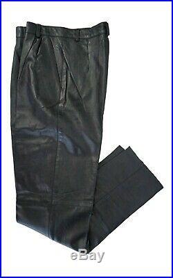 Mens black lambskin leather pants, pleated, size 32, open bottom