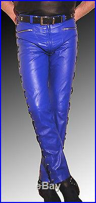 huge range of discount shop presenting Mens designer leather pants blue leather trousers lacing NEW ...
