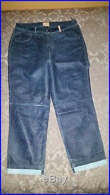 Michael Jordan TWO3 Men Blue Leather Pants Size 42W 34L Big Tall