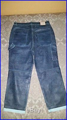 9bd40197acd Michael Jordan TWO3 Men Blue Leather Pants Size 42W 34L Big Tall ...