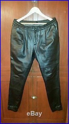 Michael Kors Genuine Black Leather Joggers Pants, mens size 34