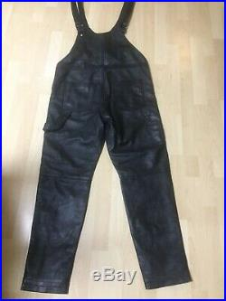 Moschino H&MOSCHINO Latzhose Hose Leder Herren Men Pants Leather Größe Size M