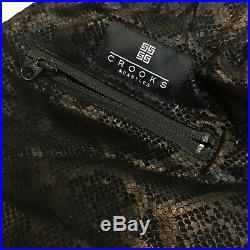 NEW Crooks & Castles Men's Size Medium Joggers'Scaled 100% Leather Sweatpants