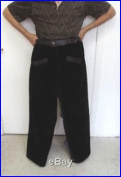 NEW REFURBISHED MEN MAN BROWN BON MOUTON LAMB FUR PANTS PANT With LEATHER SZ ALL
