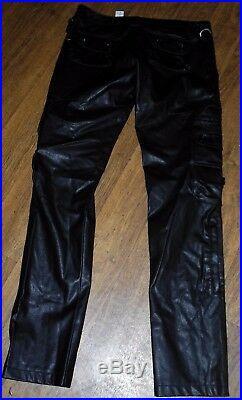NEW ZARA MAN Slim Tapered Leg Men's Dark Black Faux Leather Pants Jeans Sz 30x34