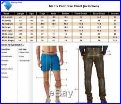 NOORA Genuine Soft Lambskin Leather Mens Biker Pants Slim Fitting Swagger NI-7