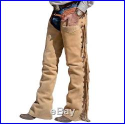 Native American Mountain Man Buckskin Deerhide Handmade Leather Pants NT07