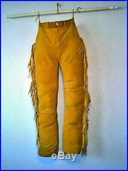 Native American Mountain Man Buckskin Deerhide Handmade Leather Pants Trouser N2