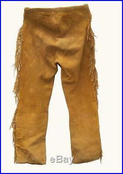 Native American Mountain Man Buckskin Deerhide Handmade Leather Pants Trouser N4