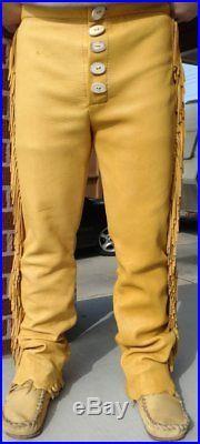 Native American Mountain Man Buckskin Deerhide Handmade Leather Pants Trouser NT