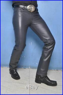 New Black Lamb Skin Leather Men's Biker Pants Slim Fitting Swagger MP002