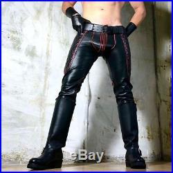 New Genuine Leather BIKER SADDLE PANT BLACK Red Pants Trouser jeans Mens Gay