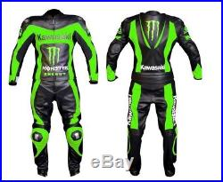 New MEN MULTICOLOR Motorcycle RACING Leather Suit Jacket Pants For Kawasaki
