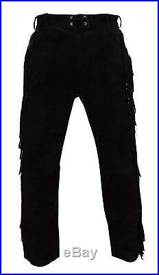 New Men Native American Black Suede Leather Pant with Fringes adjustable back