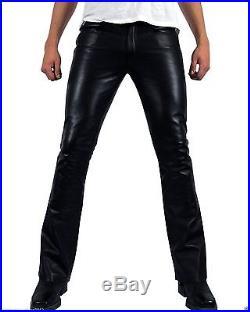 New Men Slim Fit Soft Lambskin Black Leather Pant Size 28 30 32 34 36 38 40-MP01