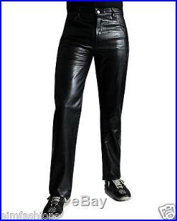 New Men Slim Fit Soft Lambskin Black Leather Pant Size 28 30 32 34 36 38 40-MP17