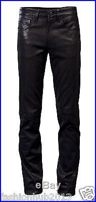 New Men Slim Fit Soft Lambskin Leather Black Pant Size 28 30 32 34 36 38 # FP16