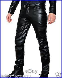 New Men Slim Fit Soft Lambskin Leather Black Pant Size 28 30 32 34 36 38 # MP07